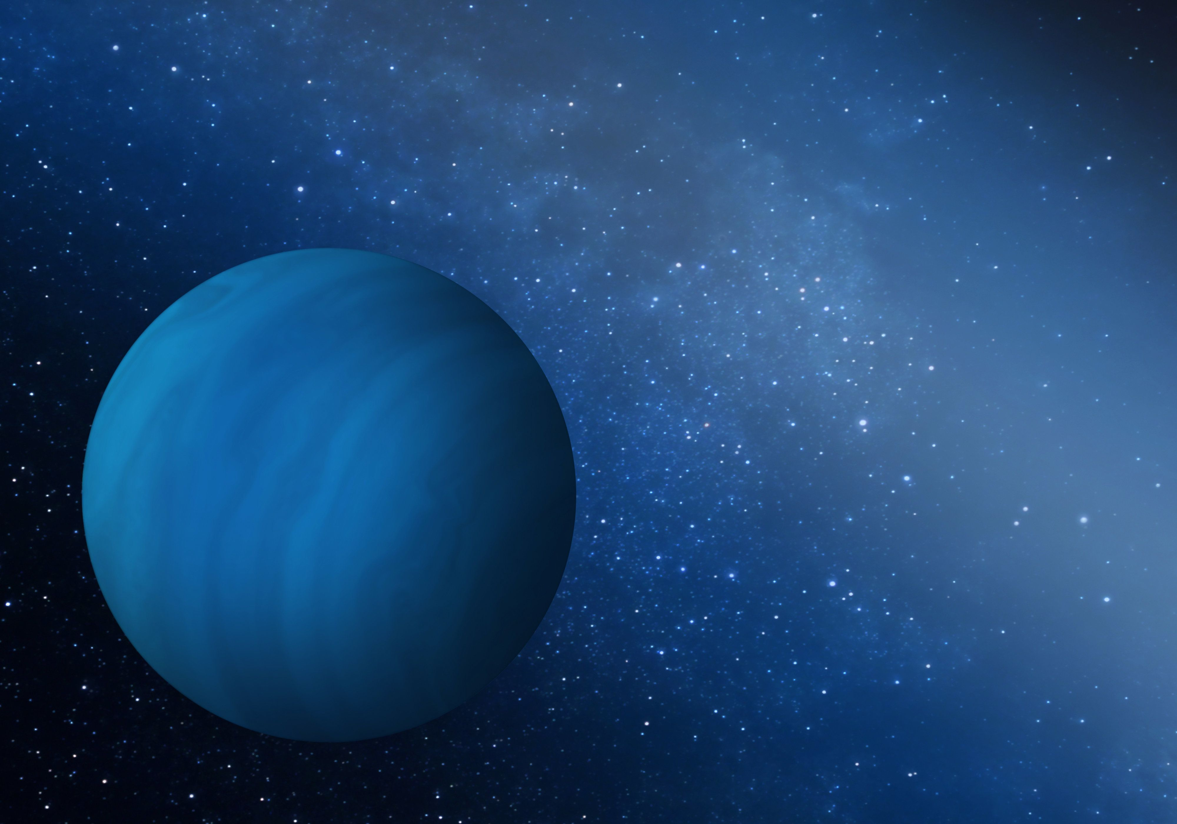 An artist's impression of the missing ice giant planet that may have been ejected from the early solar system.
