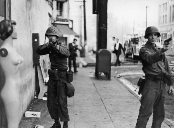 State troopers take aim during rioting in the Watts area of Los Angeles, August 1965. (Photo by Express/Archive Photos/Getty