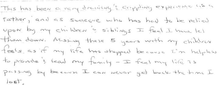 Bernard Noble responded to HuffPost's interview questions in ahandwritten six-page letter.