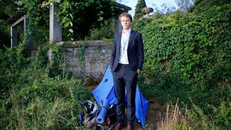 <p>A photo of former U.N. intern David Hyde, who camped out in a tent in Geneva.</p>