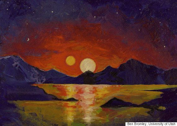 In this acrylic painting, Dr. Ben Bromley, an astrophysicist at the University of Utah, illustrates the view of a double sunset from an uninhabited Earth-like planet orbiting a pair of stars.