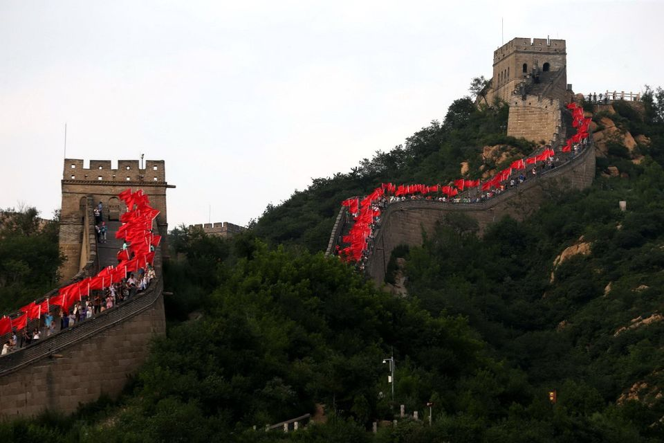 "The Great Wall is a <a href=""http://www.history.com/topics/great-wall-of-china"">series of fortifications</a> made o"