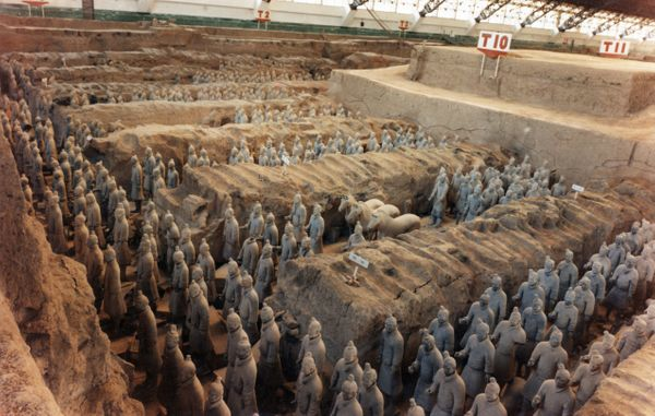 """The Terracotta Army is <a href=""""http://www.travelchinaguide.com/attraction/shaanxi/xian/terra_cotta_army/"""">a collection of sc"""