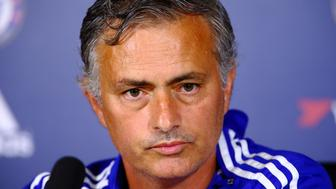 COBHAM, ENGLAND - AUGUST 14:  Jose Mourinho looks on during a press conference at Chelsea Training Ground on August 14, 2015 in Cobham, England.  (Photo by Jordan Mansfield/Getty Images)