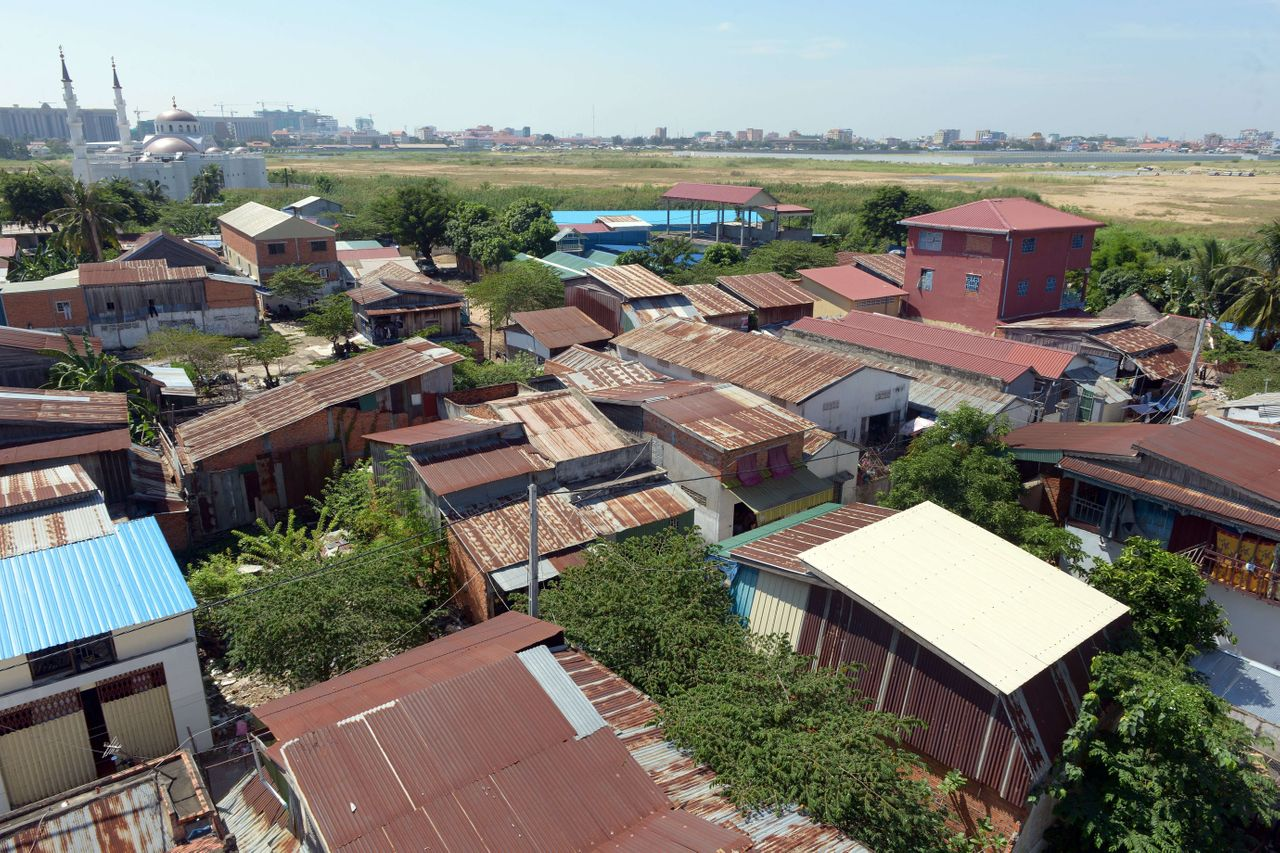 <p>Aerial view of the Boeung Kok community in Phnom Pehn. The lake that was the source of livelihood for many of its residents is now almost gone, filled in with sand and dirt to make way for luxury high-rises and shops.</p>