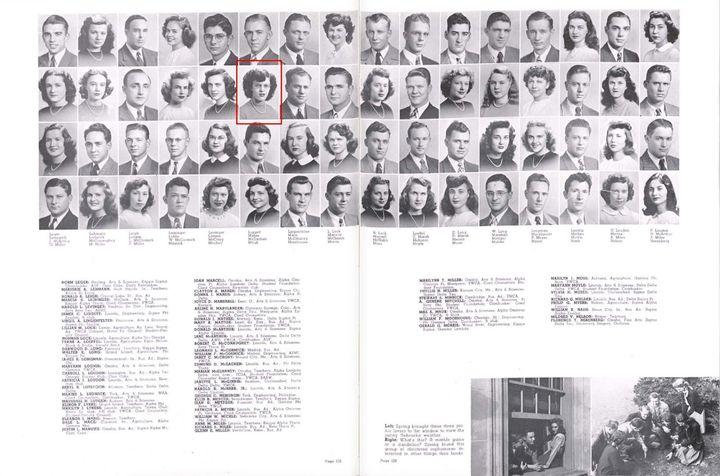 Jean Kops'sophomore yearbook photo from 1947, when she was still Jean Mabie.