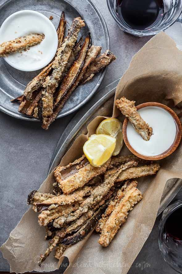 """Get the <a href=""""http://gourmandeinthekitchen.com/2013/gluten-free-baked-eggplant-fries-with-goat-cheese-dip/"""">Baked Eggplant"""