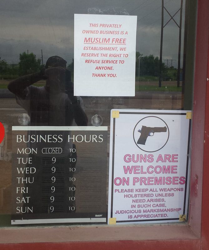 """<span>A survival-gear store in Oktaha, Oklahoma, has put a sign on the door that reads, """"This privately owned business"""