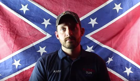 """<span>Andy Hallinan, of theFlorida Gun Supply in Inverness, Florida, declares his store to be a """"Muslim-free zone"""" in a"""