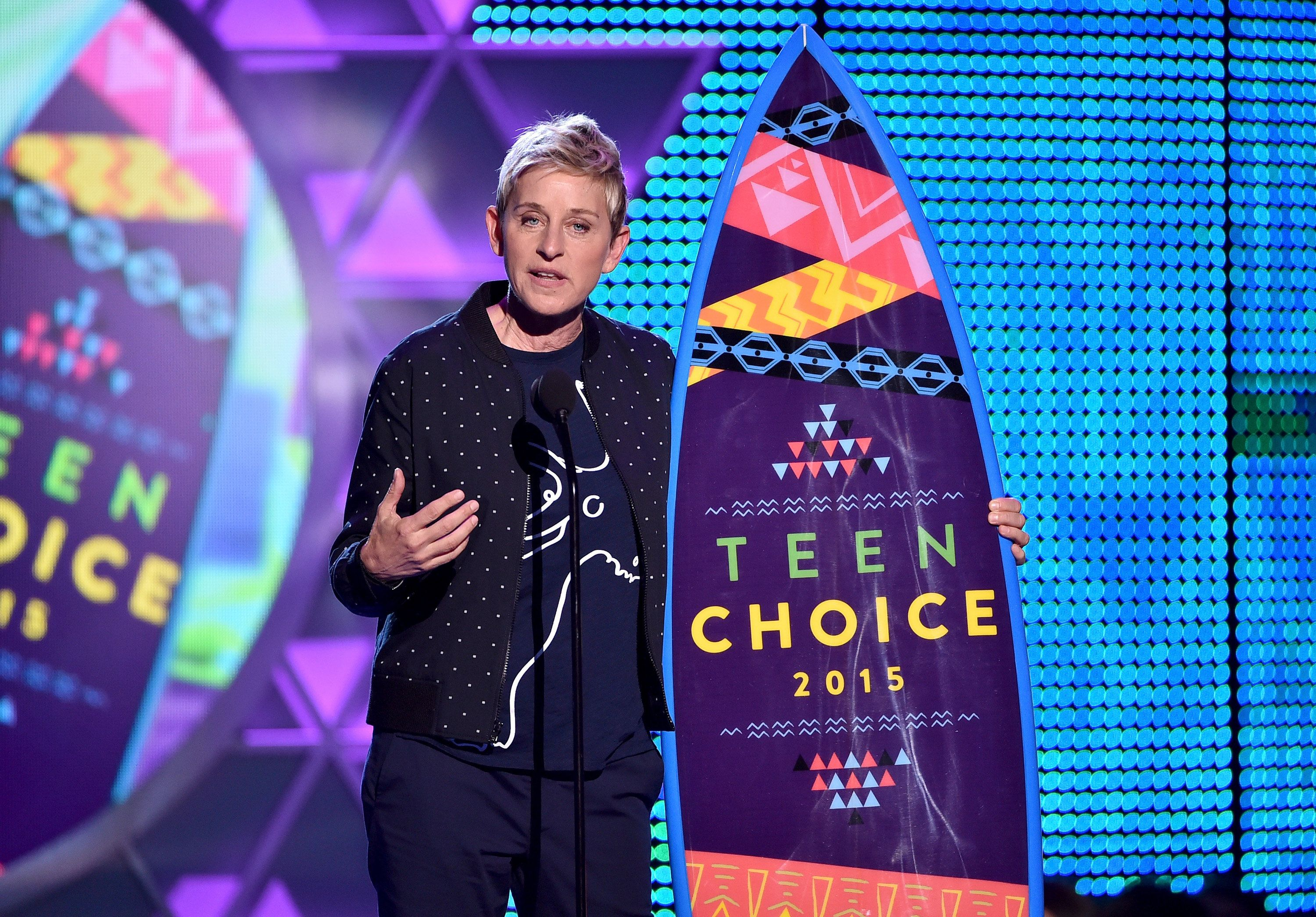 LOS ANGELES, CA - AUGUST 16:  TV personality Ellen DeGeneres accepts the Choice Comedian Award  during the Teen Choice Awards 2015 at the USC Galen Center on August 16, 2015 in Los Angeles, California.  (Photo by Kevin Winter/Getty Images)