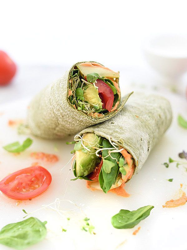 Served at home, these are great as part of soup-and-sandwich dinners. These easy, recipe-free sandwiches and wraps are good for vegans, vegetarians, or anyone who enjoys healthy sandwich fare. Vegan sandwiches and wraps. Thinly sliced avocado, sun-dried tomatoes, and vegan cream cheese or hummus on whole grain bread or in a wrap.