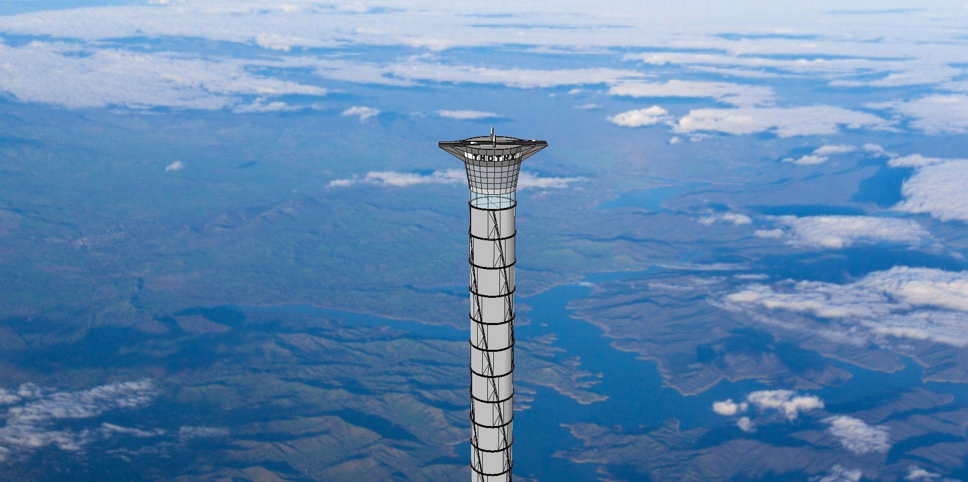 A visualization of Thoth Technology's new inflatable space elevator concept.