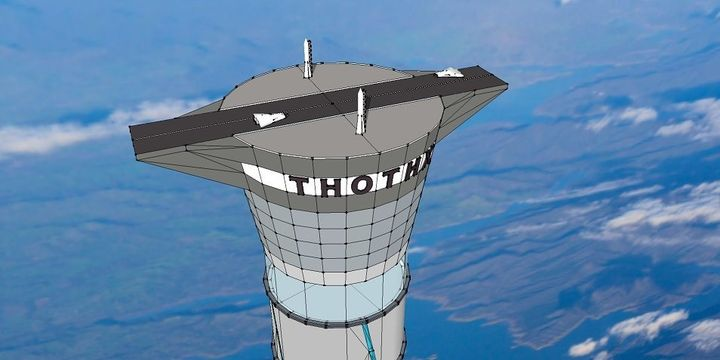 A visualization of the top of the space elevator.