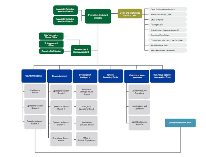 "<span>In an <a href=""https://www.fbi.gov/about-us/nsb/nsb-org-chart"">organizational bureau flowchart</a>, the High Value Deta"