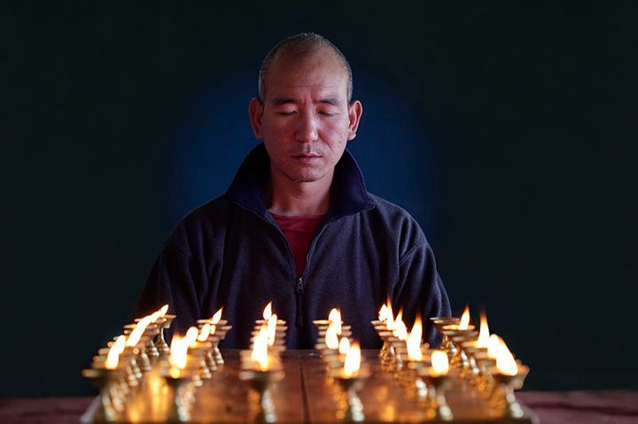 <span>Buddhist monk Lobsang Phuntsok during a scene in the documentary &ldquo;Tashi and the Monk,&rdquo; co-directed by Andre