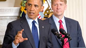 WASHINGTON, DC - JULY 17:  (AFP OUT) U.S. President Barack Obama delivers a statement on the confirmation of Richard Cordray (R) as Director of the Consumer Financial Protection Bureau in the State Dining Room of the White House July 17, 2013 in Washington, DC. Previously, Cordray was Attorney General of Ohio. (Photo by Ron Sachs-Pool/Getty Images)