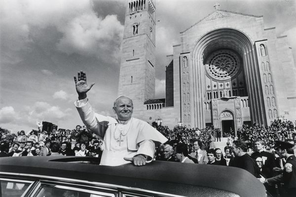 Pope John Paul II gestures to the crowd during his trip to the United States, on Oct. 6, 1979.