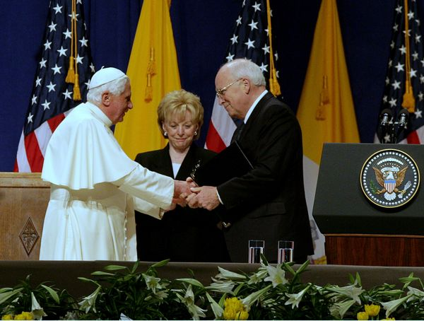 Pope Benedict XVI speaks at JFK International Airport, joined by Vice President Richard and Mrs. Lynne Cheney during his fare