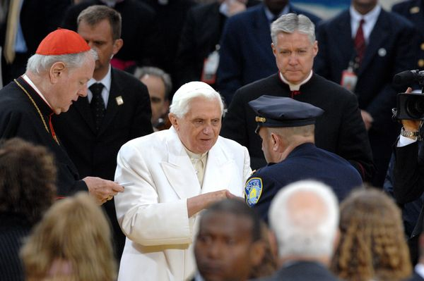 Pope Benedict XVI visits Ground Zero on his final day in New York City, April 20, 2008.