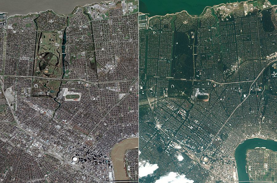 LEFT: A satellite view of New Orleans before Hurricane Katrina, on March 9, 2005. RIGHT: A view of flooded New Orleans in the