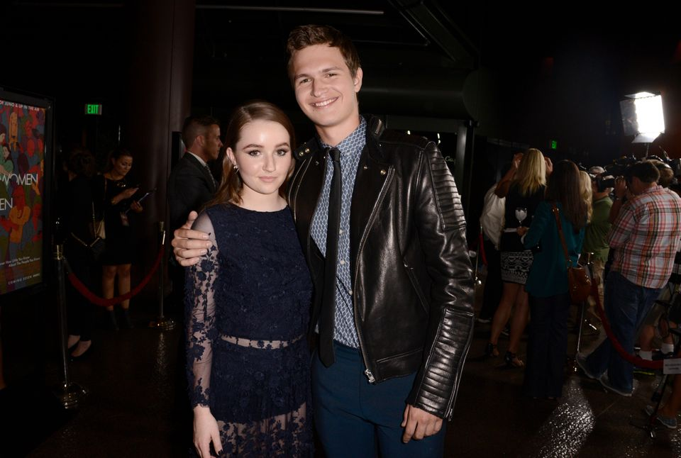 "Kaitlyn Dever, left, and Ansel Elgort arrive at the premiere of ""Men, Women & Children"" at The Directors Guild of America"