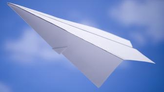 Paper airplane with blue sky