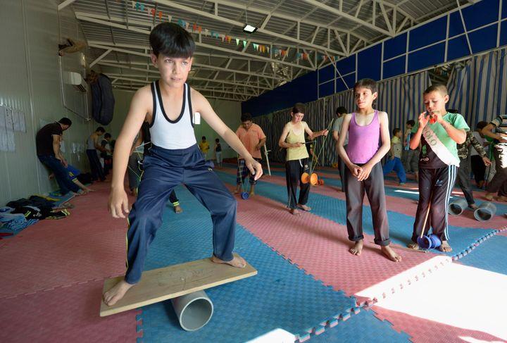 Participants in the Za'atari camp's circus school.