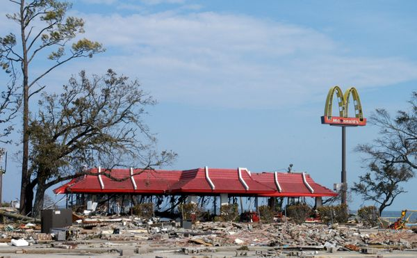 A McDonald's lies in ruins across from the beach and Highway 90 on Aug. 30, 2005, in Biloxi, Mississippi.