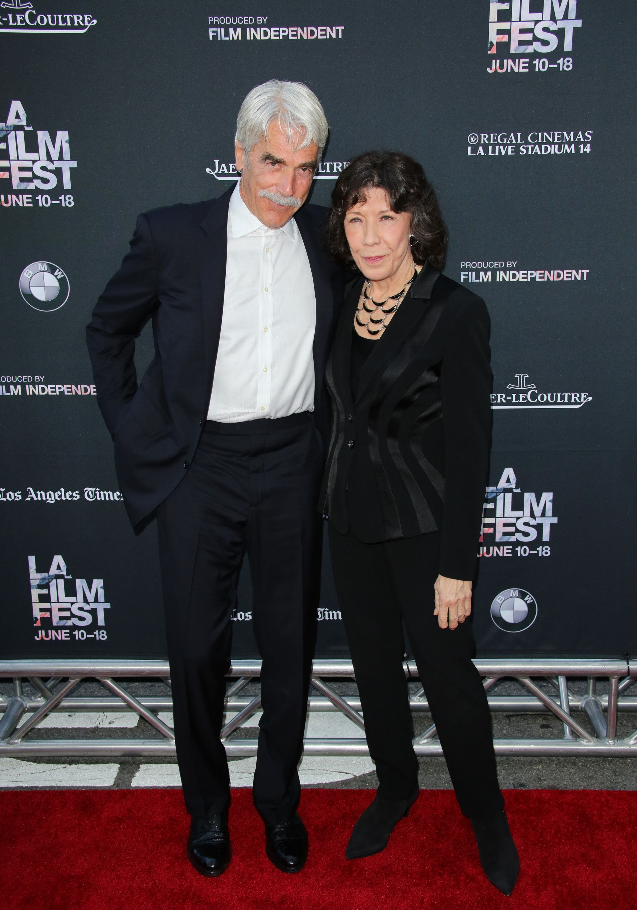 LOS ANGELES, CA - JUNE 10:  Actors Sam Elliott (L) and Lily Tomlin (R) attend the premiere of 'Grandma' at the Opening Night of the 2015 Los Angeles Film Festival at Regal Cinemas L.A. Live on June 10, 2015 in Los Angeles, California.  (Photo by Paul Archuleta/FilmMagic)