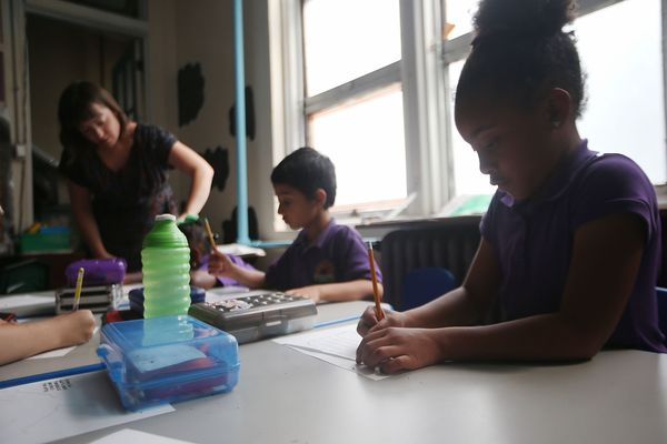 Students attend class at the Encore Academy charter school on May 13, 2015 in New Orleans, Louisiana. More than 100 schools i
