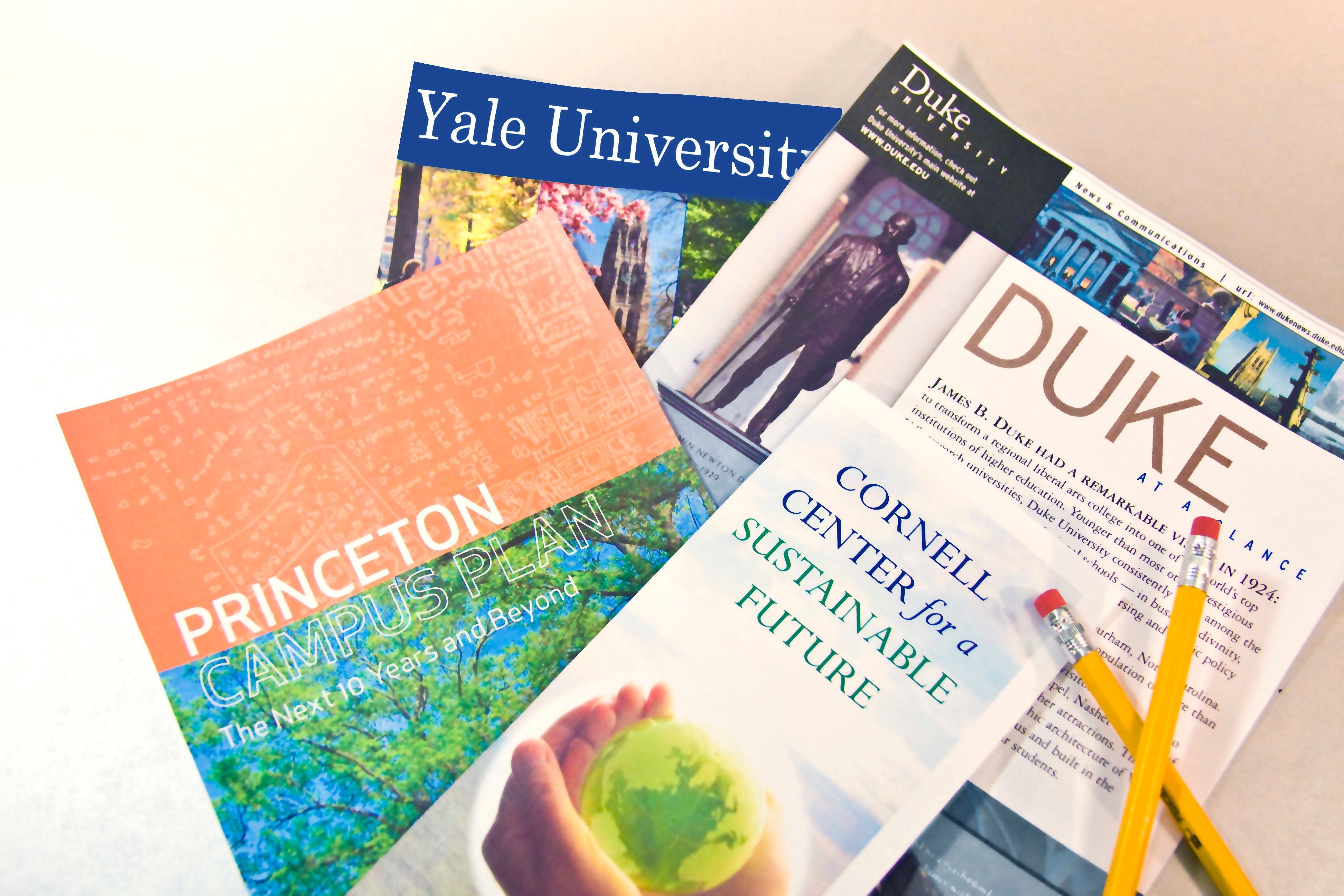 college brochures college planning choosing a college catalogs papers nobody paperwork advertisements for universities duke cornell princeton