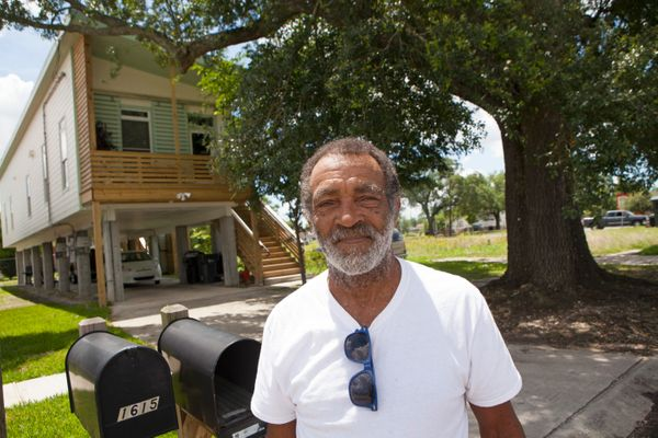 Eugene Trufant stands in front of his home in the Lower Ninth Ward, on May 28, 2015 in New Orleans, Louisiana. Truant's home