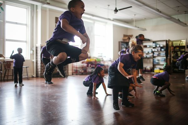 Students attend dance class at the Encore Academy charter school on May 13, 2015 in New Orleans, Louisiana. More than 100 sch
