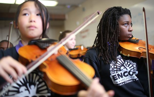 Students attend music class at the Encore Academy charter school on May 13, 2015 in New Orleans, Louisiana. More than 100 sch