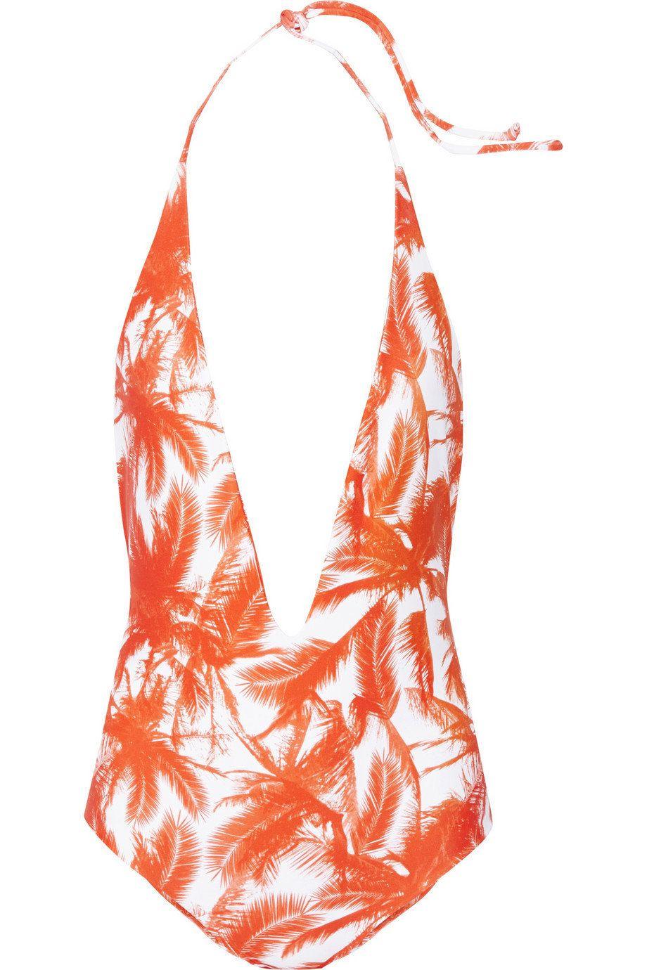 """Mikoh Hianano plunge-front swimsuit, $210; <a href=""""http://www.net-a-porter.com/us/en/product/597339"""" target=""""_hplink"""">netapo"""