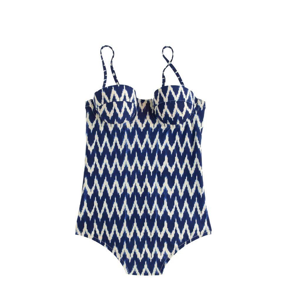 """J.Crew Zigzag Ikat Underwire One-Piece Swimsuit, $132; <a href=""""https://www.jcrew.com/ca/womens_category/swim/theswimshop/PRD"""