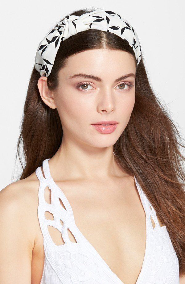 """Cara 'Abstract Leaves' Headwrap, $14.40;<a href=""""http://shop.nordstrom.com/s/cara-abstract-leaves-head-wrap/4018490?ori"""