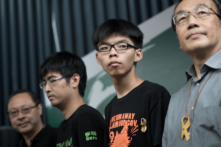 Benny Tai of prominent pro-democracy group Occupy Central, and Hong Kong student leaders Alex Chow, Joshua Wong and Alan Leon
