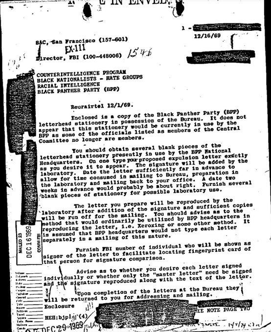 An FBI declassified document on the Black Panthers. Photo courtesy