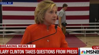 Hillary Clinton takes questions from the press in Las Vegas.