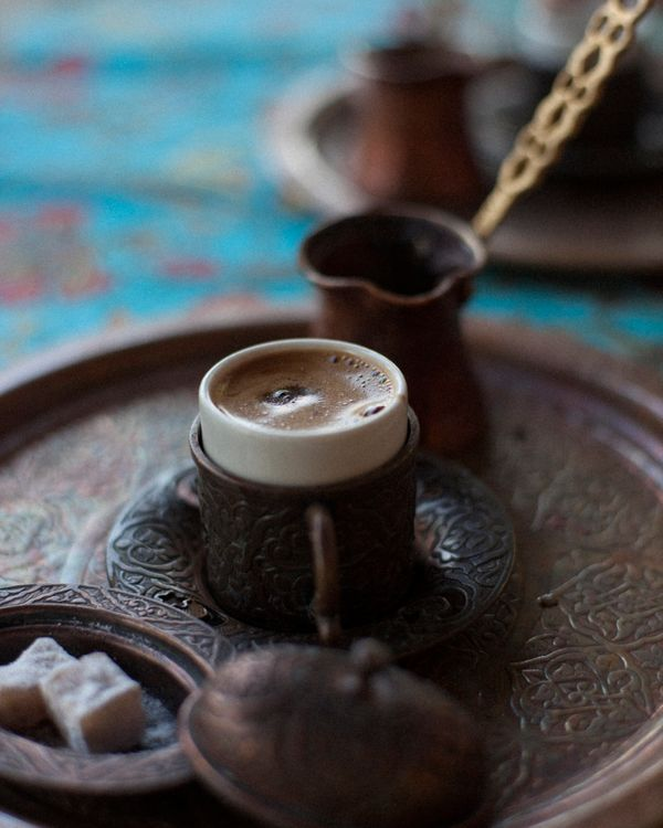 It's said every Turkish family has its own recipe for this tradition. Super-finely ground coffee is brewed in a copper pot ca