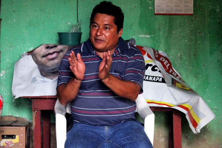 <span>Community leader and political activist Miguel Ángel Jiménez Blanco spoke to voters in small towns to col