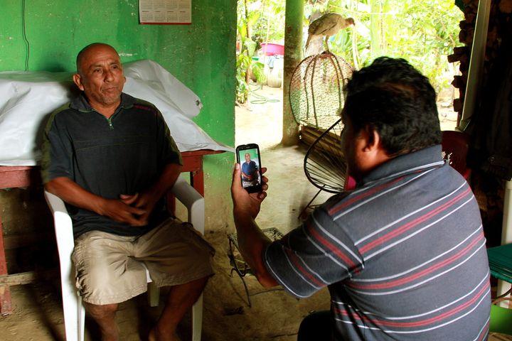 A voter near San Marcos, Guerrero, tells political activistMiguel Ángel Jiménez Blancoof alleged vo