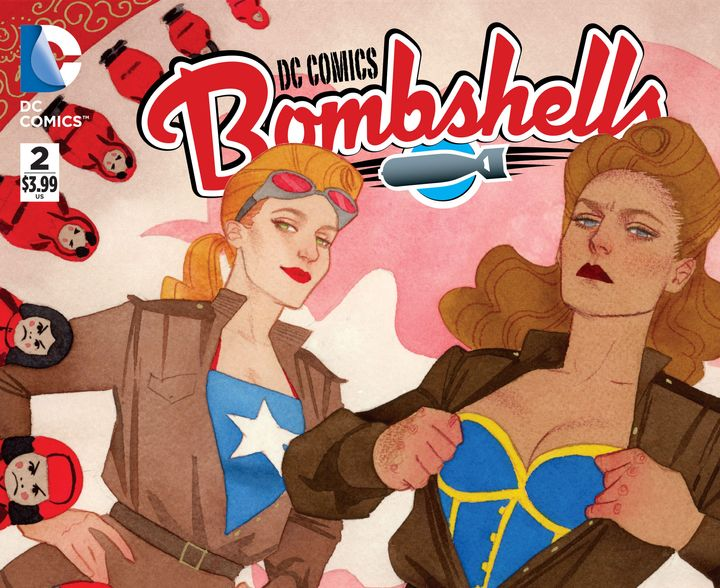 The variant cover for Bombshells #2 by Kevin Wada