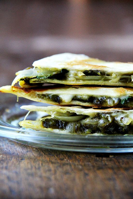 """<strong>Get the <a href=""""http://www.alexandracooks.com/2014/09/11/roasted-poblano-onion-and-jack-quesadilla-a-favorite-drink/"""