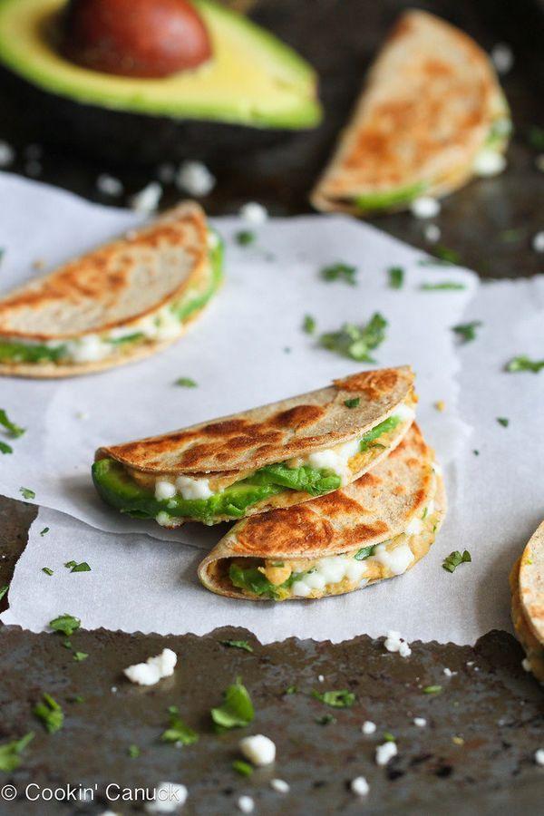 "<strong>Get the <a href=""http://www.cookincanuck.com/2014/05/mini-avocado-hummus-quesadilla-recipe-healthy-snack/"" target=""_b"