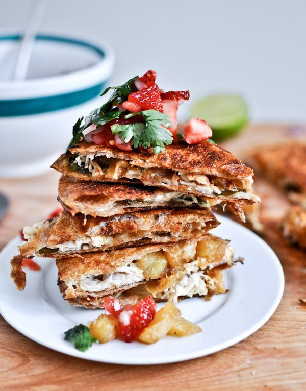 """<strong>Get the <a href=""""http://www.howsweeteats.com/2012/08/caramelized-pineapple-quesadillas-with-spicy-strawberry-salsa/"""""""