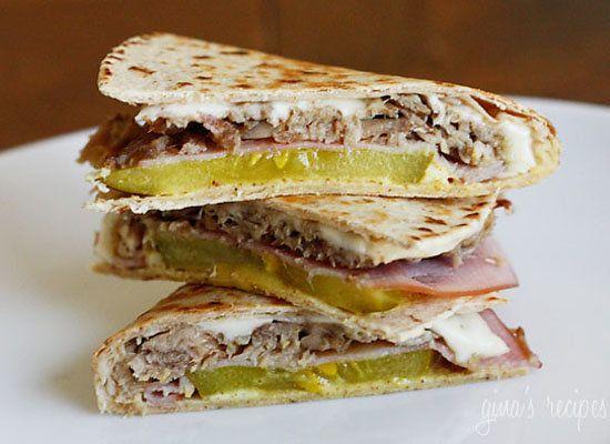 """<strong>Get the <a href=""""http://www.skinnytaste.com/2011/01/cuban-sandwich-quesadilla.html"""">Cuban Sandwich Quesadilla recipe<"""