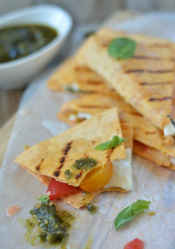 """<strong>Get the <a href=""""http://www.mountainmamacooks.com/2014/06/grilled-caprese-quesadilla/"""" target=""""_blank"""">Grilled Capres"""