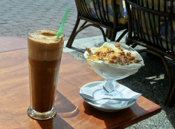Frappés are iced coffee drinks made with <strong>instant coffee, sugar and water whisked into a foam</strong>, <a href